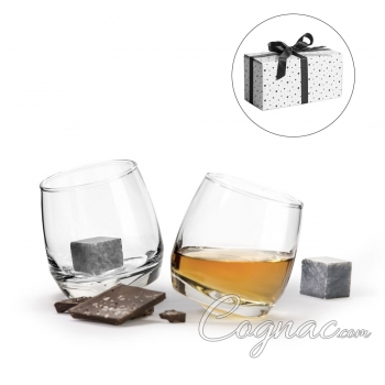 Rocking Cognac Glasses & Drinkstones In Gift Box (Set of 2)