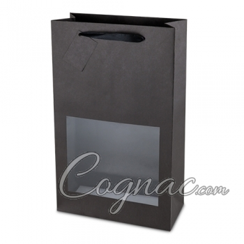 Black Kraft Window Wide-Bottle / 2-Bottle Bag